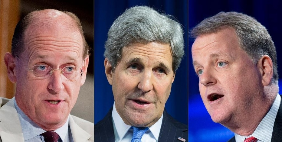 This combination made from file photos shows, from left, Delta Airlines CEO Richard Anderson, U.S. Secretary of State John Kerry, and America Airlines CEO Douglas Parker. Anderson and Parker met with Kerry in Washington on Thursday, Sept. 17, 2015, as they stepped up their fight against what they say is unfair competition from the three biggest Middle East airlines. (AP Photo/Manuel Balce Ceneta, Evan Vucci, Pablo Martinez Monsivais)