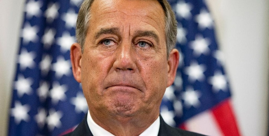 FILE - In this Sept. 9, 2015, file photo, Speaker of the House John Boehner pauses during a news conference with members of the House Republican leadership on Capitol Hill in Washington. Congress' Republican leaders face stark tests as they fight to keep the government open past month's end, amid fears a shutdown could crush their party's White House ambitions. (AP Photo/Jacquelyn Martin, File)