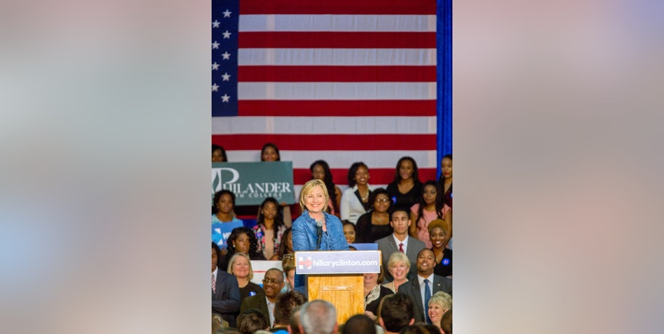 Democratic presidential candidate Hillary Rodham Clinton speaks at a grassroots organizing meeting at Philander Smith College Monday, Sept. 21, 2015, in Little Rock, Ark. (AP Photo/Gareth Patterson)