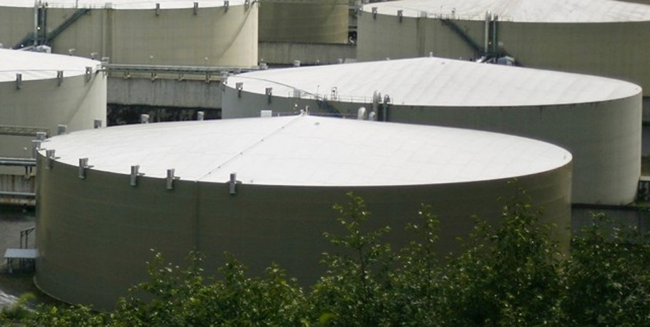 A field of 14 storage tanks that each hold 510,000bbls of oil can be seen at the Trans-Alaska Pipeline Marine Terminal in Valdez, Alaska on August 8, 2008.  REUTERS/Lucas Jackson  (UNITED STATES)