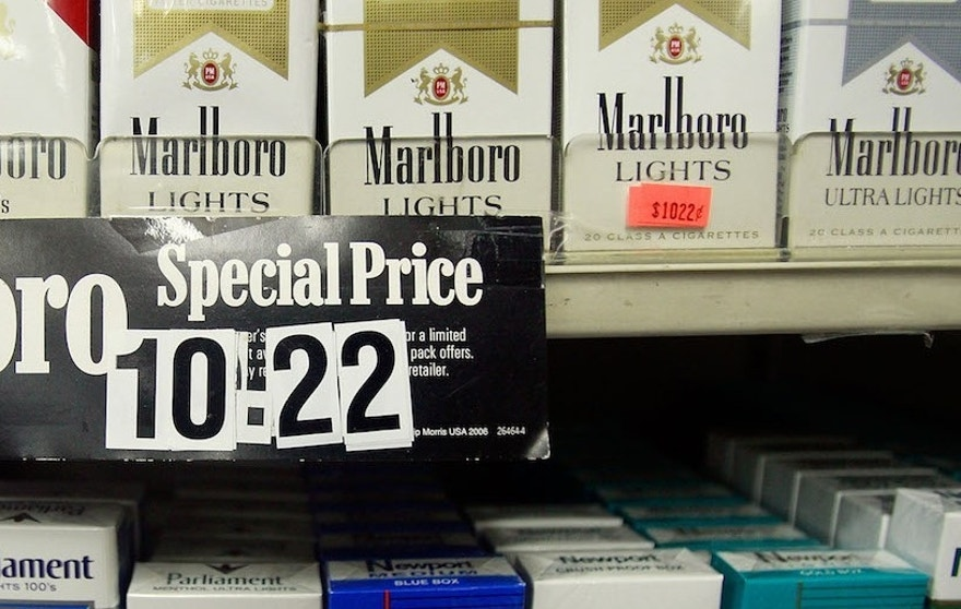 NEW YORK - APRIL 01: Cigarette packs are on display for sale in a shop April 1, 2009 in New York City. Today the federal tax on packs of cigarettes climbed from 39 cents to $1.01, the largest tobacco tax increase ever and affecting all tobacco products.  (Getty)