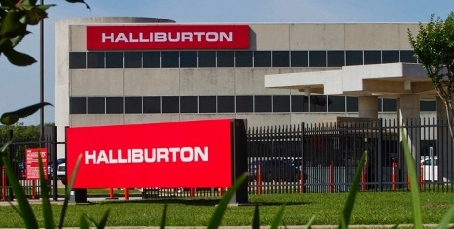 The company logo of Halliburton oilfield services corporate offices is seen in Houston, Texas April 6, 2012.