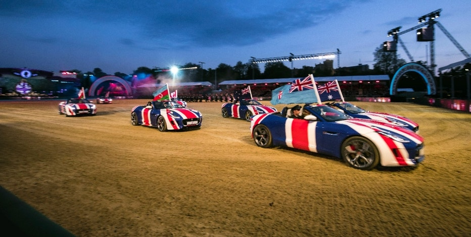 Jaguar F-Types as part of the opening ceremony at Her Majesty the Queen's 90th Birthday Celebrations at Windsor.