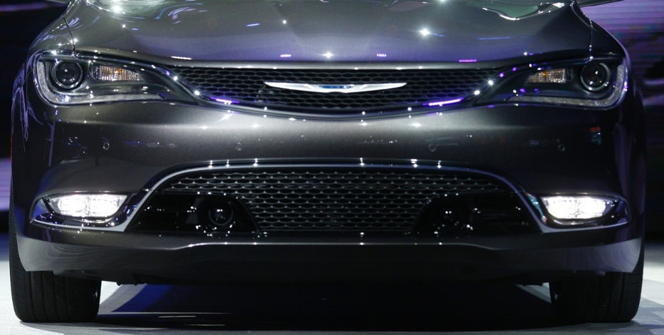 Detail view of the grille area of the new Chrysler 200 C sedan as it is unveiled during the press preview day of the North American International Auto Show in Detroit, Michigan January 13, 2014.