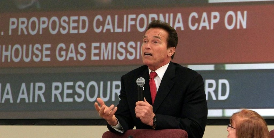 FILE - In this Thursday, Dec. 16, 2010, file photo, then Gov. Arnold Schwarzenegger addresses the California Air Resources Board urging them to adopt some of the nation's most sweeping clean air regulations, in Sacramento, Calif. California lawmakers moved closer to extending an ambitious climate change law Tuesday, Aug. 23, 2016, after winning critical approval from business-minded Democratic lawmakers in the state Assembly after some encouragement from the White House. Some lawmakers say the law would strengthen California's role as a leader for other states and nations to take action in combating climate change.  (AP Photo/Rich Pedroncelli, File)