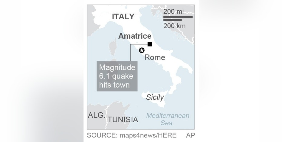 Map locates Amatrice, Italy; 1c x 2 inches; 46.5 mm x 50 mm;