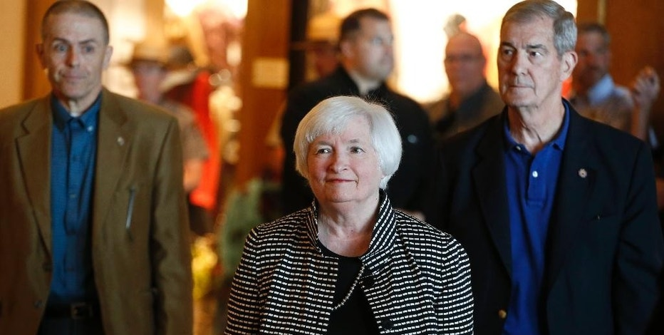 Federal Reserve Chair Janet Yellen arrives for a reception on the opening night of the annual meeting of the world's central bankers at Jackson Lake Lodge in Grand Teton National Park, north of Jackson Hole, Wyo., Thursday, Aug. 25, 2016. Yellen is to address the gathering on Friday. (AP Photo/Brennan Linsley)