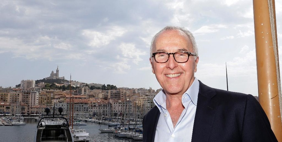 USA's Frank McCourt, former owner of the Los Angeles Dodgers, Monday, Aug. 29, 2016 in Marseille, southern France. The mayor of Marseille has announced that American businessman Frank McCourt, 63, has bought the popular football team, Olympique de Marseille. (AP Photo/Claude Paris)