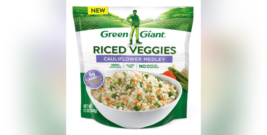 """This photo provided by Green Giant shows a package of one of the company's """"Riced Veggies"""" products made with cauliflower. Green Giant is hoping the """"cauliflower rice"""" trend can help it modernize its image and turn around declining sales. The company is introducing frozen versions of the chopped vegetable, which dieters use to lower calories in starchy dishes. Others have jumped on the trend too, including Trader Joe's and Wegmans, which each offer house brand versions. (Courtesy of Green Giant via AP)"""