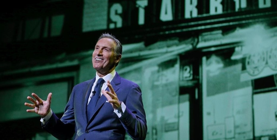 """FILE - In this Wednesday, March 23, 2016, file photo, Starbucks CEO Howard Schultz speaks at the coffee company's annual shareholders meeting in Seattle. Starbucks is venturing into the world of """"content creation"""" with stories about inspiring Americans it says will help balance the """"cynicism"""" fueling media coverage of the presidential election. The coffee chain, which is known for chiming in on social issues, says it's positioned to give its Upstanders series a big stage through its popular mobile app.  (AP Photo/Ted S. Warren, File)"""