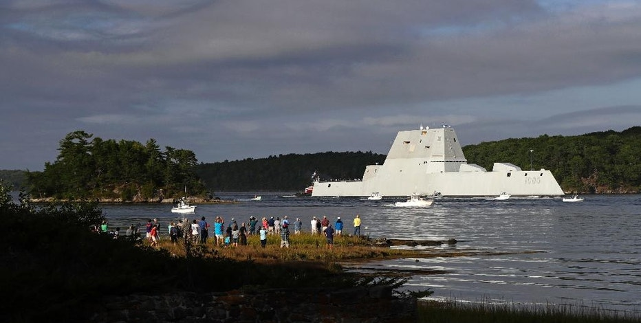 The future USS Zumwalt heads down the Kennebec River after leaving Bath Iron Works Wednesday, Sept. 7, 2016, in Bath, Maine. The nation's biggest and most technologically sophisticated destroyer is going to join the Navy with half the normal crew size thanks to unprecedented automation. (AP Photo/Robert F. Bukaty)