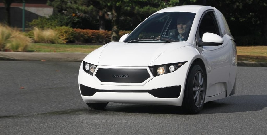 This undated photo provided by Electra Meccanica Vehicles Corp. shows the Solo, a one-seater made by the Vancouver, Canada-based company. The three-wheeled electric car could soon go on sale in the U.S. and Canada. (Christoph Koch/Electra Meccanica Vehicles Corp. via AP)
