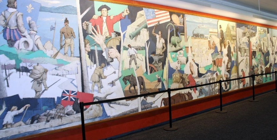 "This photo provided by the National Life Group shows a massive mural that has been donated to the Vermont Historical Society, where it will be preserved and protected. The mural called ""A Tribute to Vermont"" by Paul Sample has been hanging in the lobby of insurance company National Life Group's headquarters in Montpelier, Vt. since 1961. (Ross Sneyd/National Life Group via AP)"