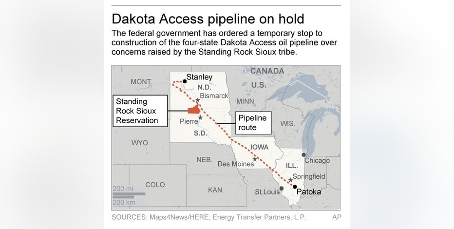 Graphic shows route of Dakota Access pipeline; 2c x 3 inches; 96.3 mm x 76 mm;
