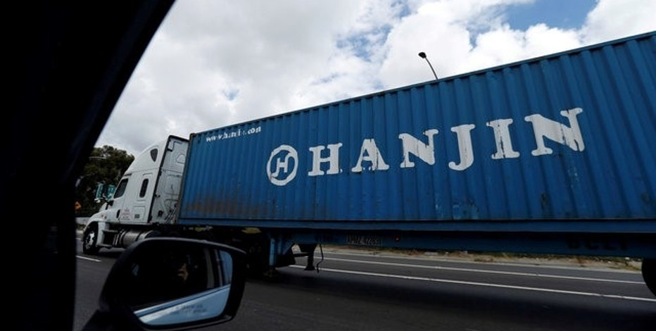 A Hanjin Shipping Co shipping container is seen in Long Beach, California U.S., September 13, 2016.   REUTERS/Mario Anzuoni