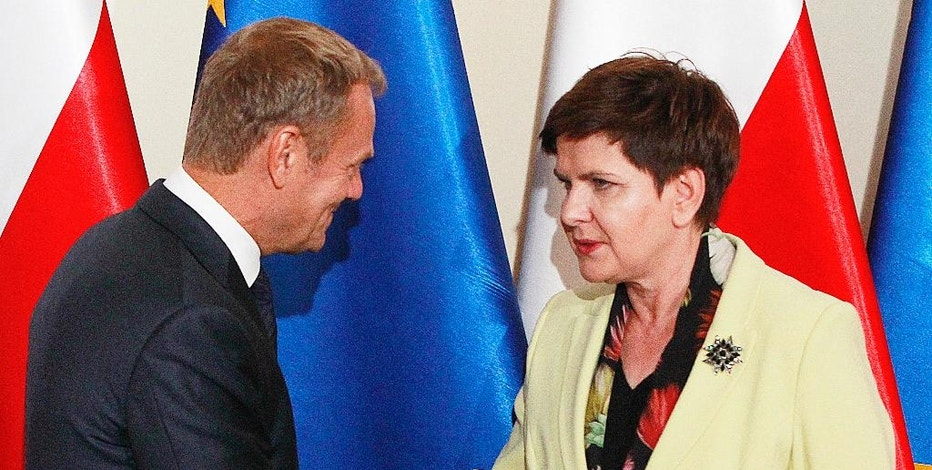 Poland's Prime Minister Beata Szydlo,right, shake hands with wldEuropean Council President Donald Tusk before talks on EU future after Britain leaves, in Warsaw, Poland, Tuesday, Sept. 13, 2016. Ahead of EU summit on Friday, Szydlo says EU needs deep, bold reforms. Relations between Szydlo, a conservative, and Tusk, Poland's former centrist prime minister, are tense. (AP Photo/Czarek Sokolowski)