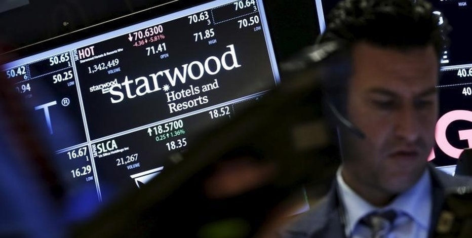 Traders stand by the post where the stock for Starwood Hotels & Resorts Worldwide Inc is traded on the floor of the New York Stock Exchange November 16, 2015.  REUTERS/Brendan McDermid