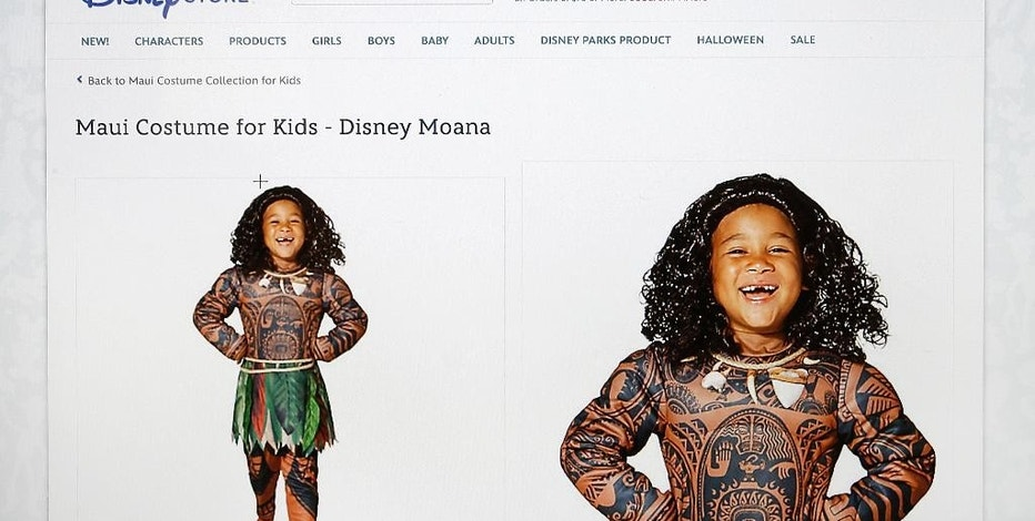 """This photograph of a computer screen shows the DisneyStore.com website's Maui Halloween costume on Wednesday, Sept. 21, 2016. Disney said Wednesday it would no longer sell the boy's costume for a Polynesian character that some Pacific Islanders have compared to blackface. The getup features full-body tattoo art adorning Maui, a lead character in the upcoming animated movie """"Moana."""" (DisneyStore.com via AP)"""