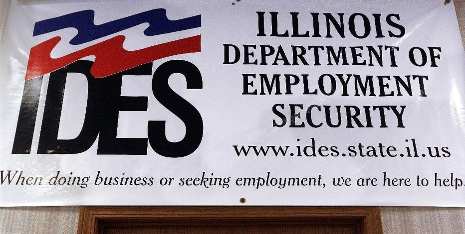 In this Thursday, Sept. 29, 2016 photo, an Illinois Department of Employment Security banner hangs in their office in Springfield, Ill. An Associated Press analysis of federal statistics shows Illinois is the nation's worst in reclaiming hundreds of millions of dollars in overpaid unemployment benefits. (AP Photo/Seth Perlman)