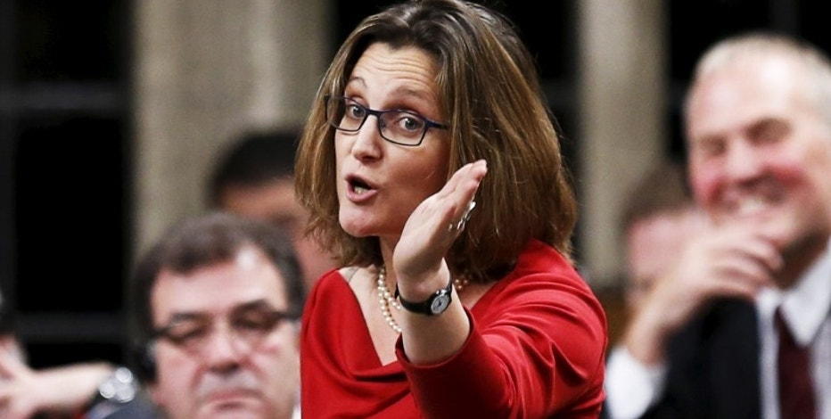 Canada's International Trade Minister Chrystia Freeland speaks during Question Period in the House of Commons on Parliament Hill in Ottawa, Canada, December 7 , 2015. REUTERS/Chris Wattie/File Photo