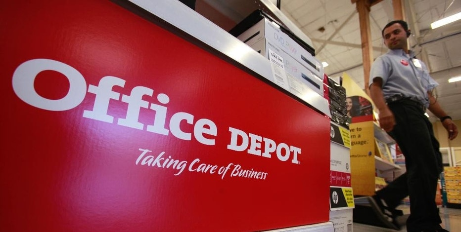 FILE - This July 12, 2010, file photo shows signage at an Office Depot store in Mountain View, Calif. On Thursday, Oct. 13, 2016, Office Depot Inc. said it will close its stores for Thanksgiving, after three years of being open on the turkey feast. (AP Photo/Paul Sakuma, File)
