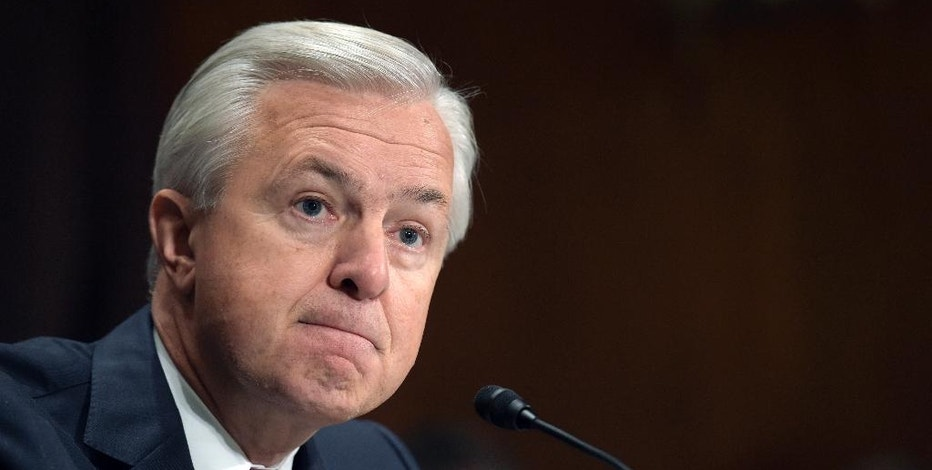 FILE - In this Tuesday, Sept. 20, 2016, file photo, Wells Fargo CEO John Stumpf testifies on Capitol Hill in Washington, before the Senate Banking Committee. Wells Fargo's embattled CEO Stumpf is out effective immediately, with President and Chief Operating Officer Tim Sloan taking over as the head of the one of the nation's largest banks, the company announced Wednesday, Oct. 12, 2016. (AP Photo/Susan Walsh, File)