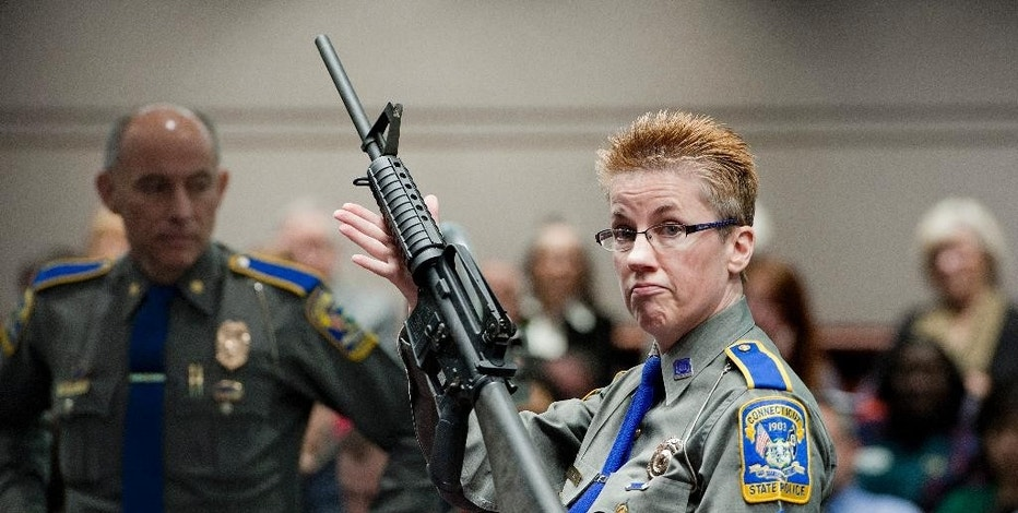FILE - In this Jan. 28, 2013, file photo, firearms training unit Detective Barbara J. Mattson, of the Connecticut State Police, holds up a Bushmaster AR-15 rifle, the same make and model of gun used by Adam Lanza in the Sandy Hook School shooting, during a hearing of a legislative subcommittee, at the Legislative Office Building in Hartford, Conn. A judge on Friday, Oct. 14, 2016 dismissed a wrongful-death lawsuit by Newtown families against the maker of the rifle used in the Sandy Hook Elementary School shooting massacre, citing an embattled federal law that shields gun manufacturers from most lawsuits over criminal use of their products. (AP Photo/Jessica Hill, File)