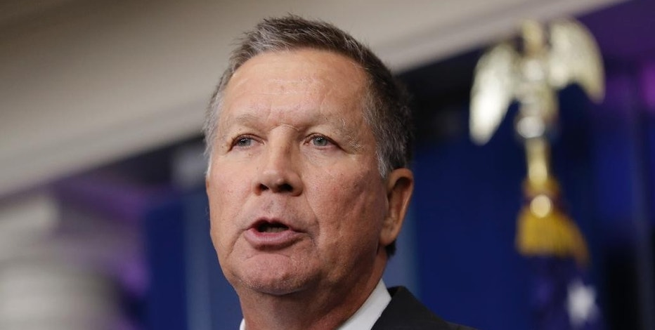 FILE - In this Friday, Sept. 16, 2016, file photo, Ohio Gov. John Kasich speaks during the daily news briefing at the White House in Washington. Kasich announced Friday, Oct. 14, 2016, that he was suspending Wells Fargo from doing business with state agencies, and excluding the bank from participating in any state bond offerings. The bank has been under fire after allegations came to light that Wells employees may have opened up to 2 million customer accounts fraudulently in order to meet sales goals. (AP Photo/Carolyn Kaster, File)