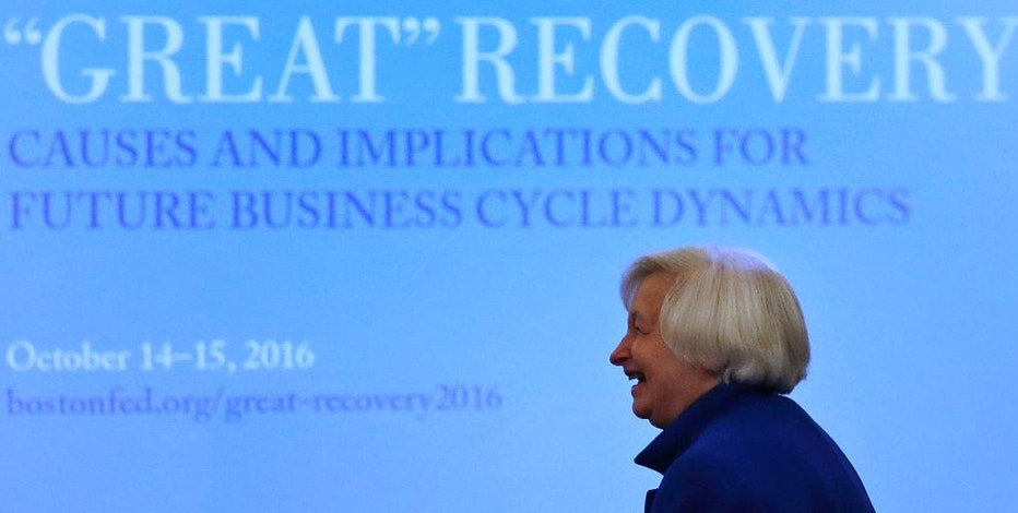 Federal Reserve Chair Janet Yellen smiles as she is introduced before addressing an audience at the Federal Reserve Bank of Boston, Friday, Oct. 14, 2016, in Boston. (AP Photo/Charles Krupa)