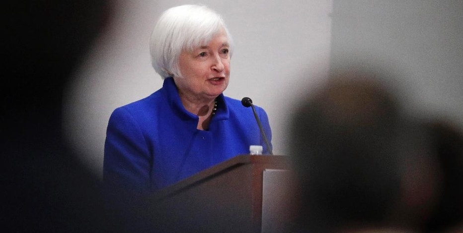 Federal Reserve Chair Janet Yellen speaks to a conference of business leaders during an address at the Federal Reserve Bank of Boston, Friday, Oct. 14, 2016, in Boston. (AP Photo/Charles Krupa)