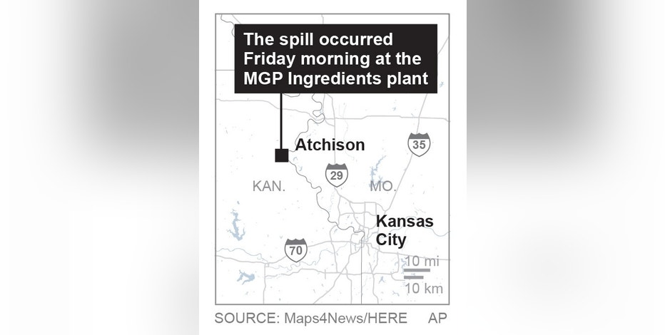 The spill occurred Friday morning at the MGP Ingredients plant in Atchison