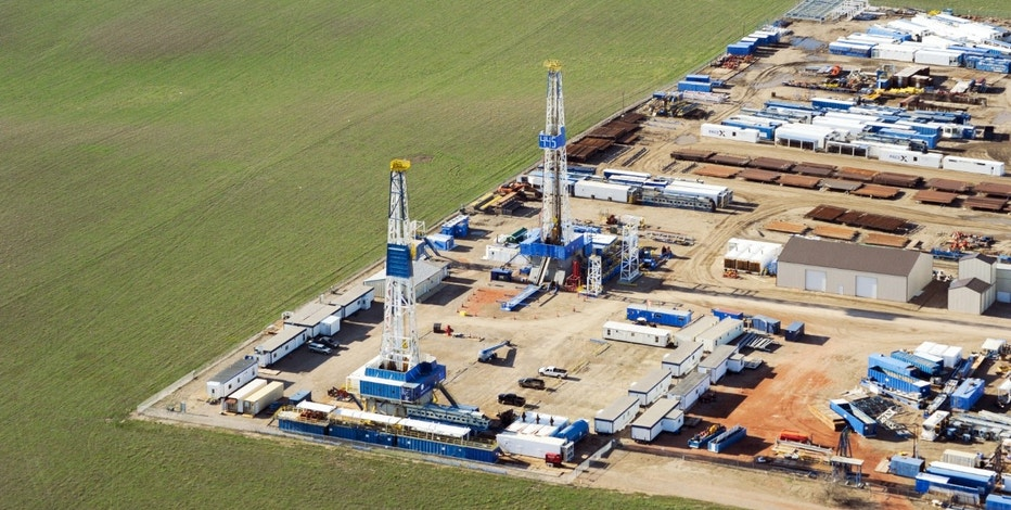 Stacked rigs and other idle oil equipment is seen in a Nabors Drilling yard near Williston, North Dakota, on April 30, 2016.
