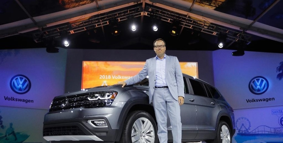 Hinrich Woebcken, CEO of Volkswagen's North America region, introduces the 2018 Volkswagen Atlas during an unveiling event Thursday, Oct. 27, 2016, in Santa Monica, Calif. (AP Photo/Jae C. Hong)