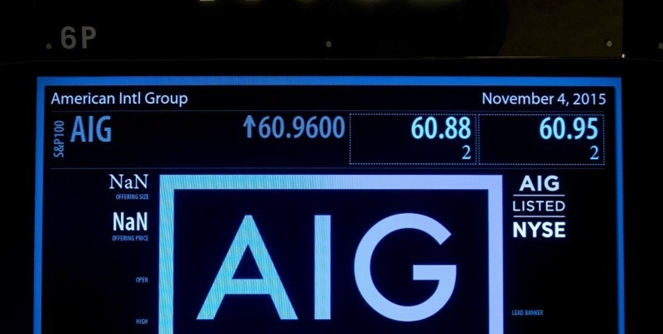 The ticker information for insurance company American International Group Inc., (AIG) is displayed on a screen above the post where it is traded on the floor of the New York Stock Exchange November 4, 2015. REUTERS/Brendan McDermid  - RTX1UQON