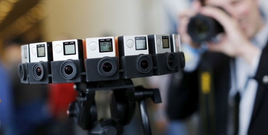 "A GoPro device featuring 16 cameras, to be used with Google's ""Jump,"" to provide viewers with 360-degree video, is shown during the Google I/O developers conference in San Francisco, California May 28, 2015. REUTERS/Robert Galbraith/File Photo"
