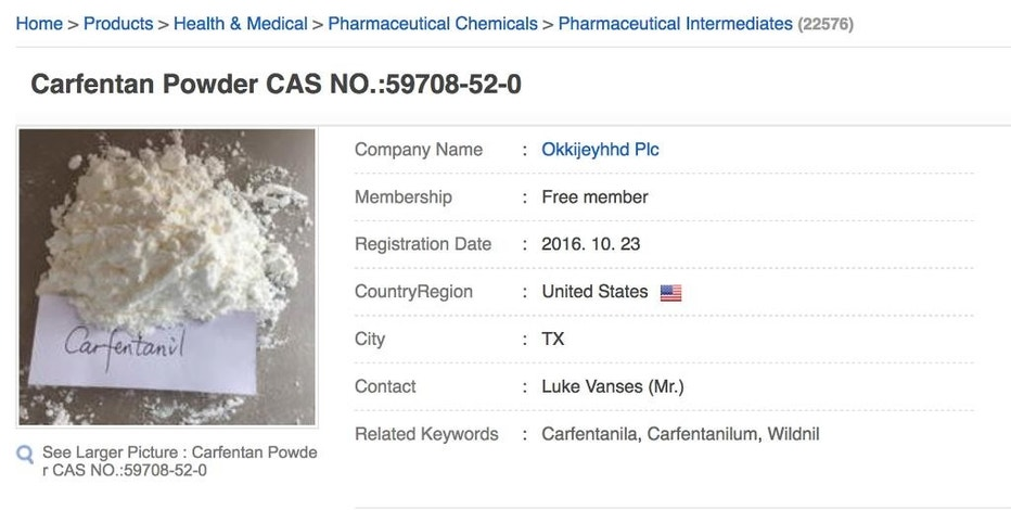 "This Nov. 2, 2016 image shows a portion of a webpage offering the powerful opioid carfentanil for sale by a company called ""Okkijeyhhd Plc"" listed in the U.S., but linked by contact information to the Apex Special Chemical Medicine Trade Co., whose listed address is in China. The product description further down the page says, ""Carfentanil is 10,000 times more potent than m.o.r.p.h.i.n.e and 5,000 times more potent than pharmaceutical grade (100% pure) h.e.r.o.i.n according to the illicit drug conversion table that issued by China Food and Drug Administration."" (AP Photo)"