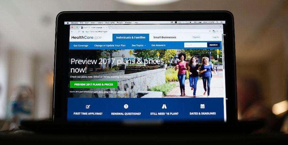 FILE - This Oct. 24, 2016, file photo, shows the HealthCare.gov 2017 website home page on a laptop in Washington. Within the health care industry, which accounts for about 18 percent of the economy, a Donald Trump presidency is being viewed with trepidation. Insurers, pharmaceuticals and hospitals would all stand to lose if reversal of Obama's health care law leads to a surge in the number of uninsured Americans. Even if the Affordable Care Act is rife with complexity and complications for health care companies, it does offer the long-term prospect of more paying customers. (AP Photo/Pablo Martinez Monsivais, File)