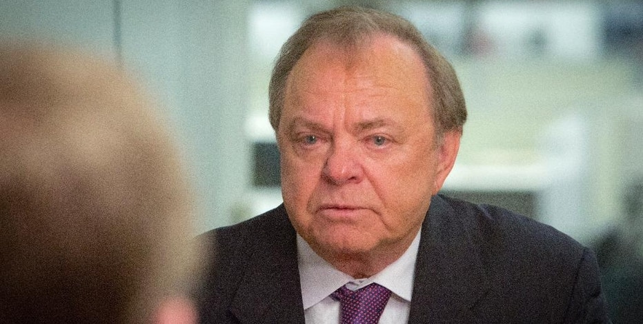 FILE - In this Jan. 13, 2016 file photo, Harold Hamm, CEO of Continental Resources and among the pioneers in shale oil drilling in the U.S., gives an interview in New York. Hamm is being considered to run Trump's Energy Department, according to transition planning documents obtained by The Associated Press.  (AP Photo/Bebeto Matthews)