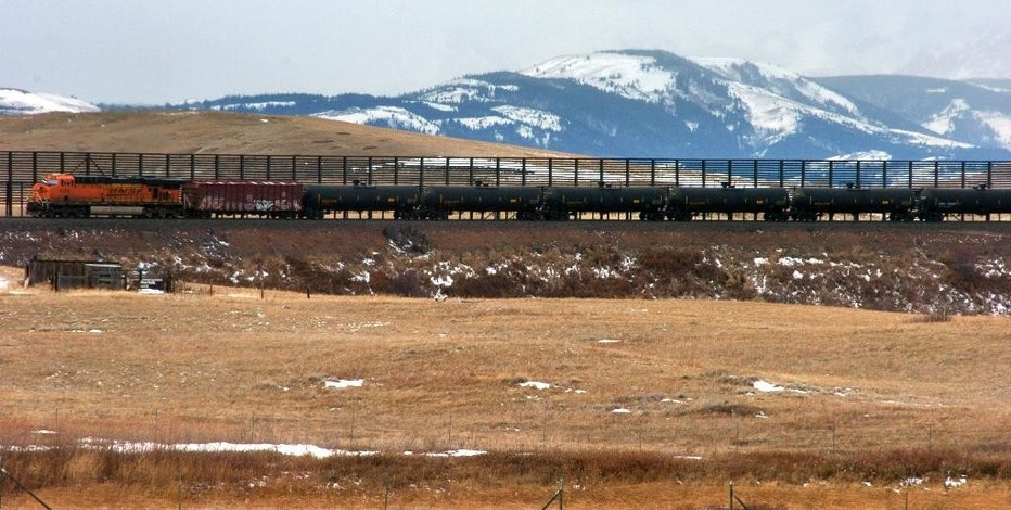 FIILE - In this Nov. 7, 2013, file photo, a train hauls oil into Glacier National Park near the Badger-Two Medicine National Forest in northwest Montana.  U.S. officials said they've canceled 15 oil and gas leases in an area bordering Glacier National Park that's considered sacred to the Blackfoot tribes of the U.S. and Canada. Interior Secretary Sally Jewell said the Wednesday, Nov. 16, 2016, move will preserve the 130,000-acre Badger-Two Medicine area within the Lewis and Clark National Forest. The Badger-Two Medicine is the site of the creation story for members of Montana's Blackfeet Nation and the Blackfoot tribes of Canada. (AP Photo/Matthew Brown, File)