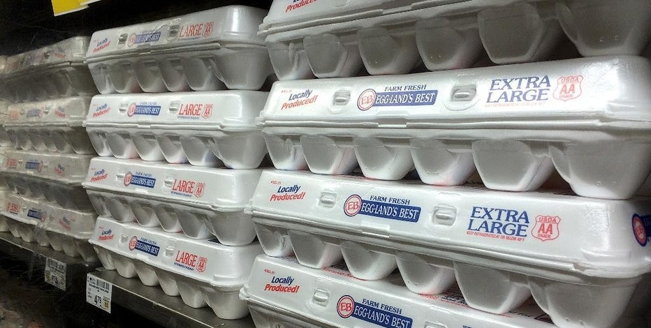 File - This July 6, 2016, file photo shows egg cartons displayed on a shelf at a market in San Francisco. Six states lacked the legal right to challenge a California law that prohibits the sale off eggs from chickens that are not raised in accordance with strict space requirements, a federal appeals court said Thursday, Nov. 17, 2016. The states, Missouri, Nebraska, Oklahoma, Alabama, Kentucky and Iowa failed to show how the law would affect them and not just individual egg farmers, a unanimous three-judge panel of the 9th U.S. Circuit Court of Appeals ruled. (AP Photo/Jeff Chiu, File)