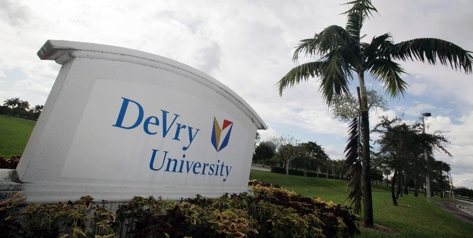 "FILE - This Nov. 24, 2009, file photo, shows the entrance to the DeVry University in Miramar, Fla. Since Donald Trump's election on Nov. 8, 2016, shares in the parent company of DeVry University have increased to their highest value in more than a year. The DeVry Education Group said in a statement that it will work with the incoming Trump administration and ""offer suggestions and reforms for higher education."" (AP Photo/J Pat Carter, File)"