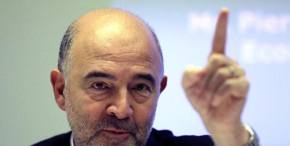 EU Finance Commissioner Pierre Moscovici speaks during a news conference in Athens, Tuesday, Nov. 29, 2016. Bailout lenders want Greece to allow more flexible labor contracts and drastically scale back protection for troubled mortgages but the government fears the measures would deepen the domestic welfare crisis. (AP Photo/Thanassis Stavrakis)