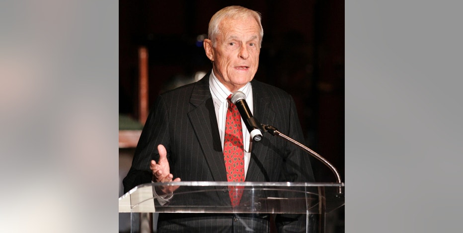 """FILE - In this Thursday, Dec. 14, 2006, file photo, Grant Tinker, co-founder of MTM Enterprises and a former NBC chairman, speaks about producer and director James Burrows, who received an Academy of Television Arts & Sciences Hall of Fame award in Beverly Hills, Calif. Tinker, who brought """"The Mary Tyler Moore Show"""" and other hits to the screen as a producer and a network boss, has died. Tinker died Monday, Nov. 28, 2016, at his home in Los Angeles, according to his son, Mark Tinker. (AP Photo/Danny Moloshok, File)"""