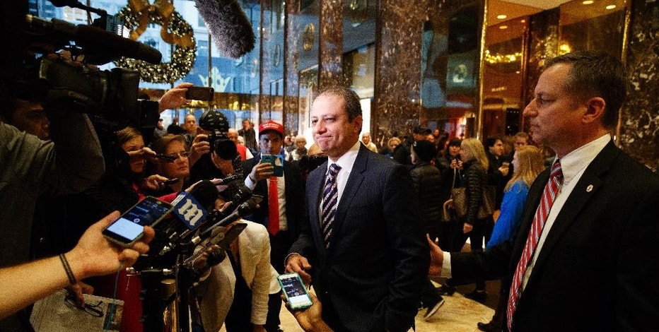 United States Attorney General for the Southern District of New York Preet Bharara speaks with reporters at Trump Tower, Wednesday, Nov. 30, 2016, in New York. (AP Photo/Evan Vucci)