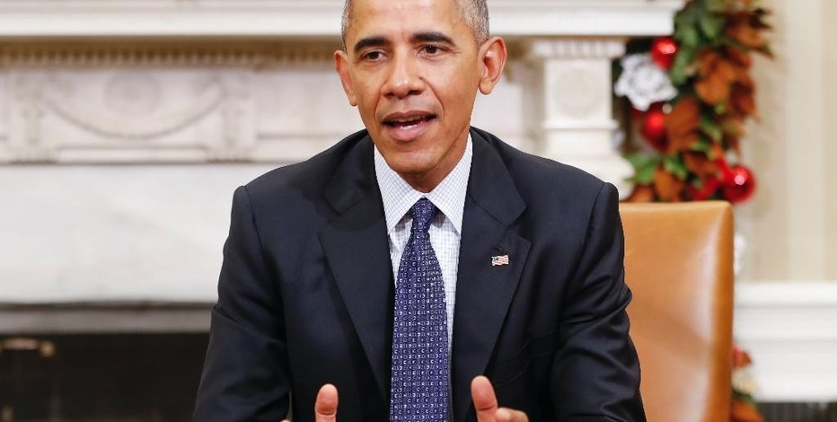 In this Nov. 30, 2016, photo, President Barack Obama speaks in the Oval Office of the White House in Washington. Citing fears of a Donald Trump presidency, environmental groups are urging Obama to stay busy in his final weeks. He is listening. With his days in office numbered, Obama has pushed ahead with several executive actions aimed at protecting the nation's land, air and water, even as he acknowledges his successor may try to undo the work. (AP Photo/Pablo Martinez Monsivais)