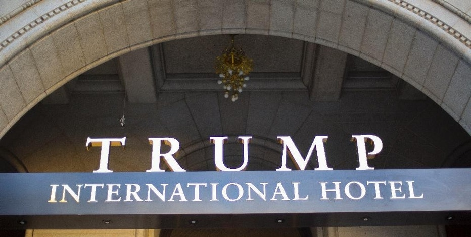 FILE - This Monday, Sept. 12, 2016, file photo, shows the exterior of the Trump International Hotel in downtown Washington. The Heritage Foundation says Vice President-elect Mike Pence will deliver a speech Tuesday night, Dec. 6, 2016, to a conservative group at President-elect Donald Trump's new hotel in Washington, about areas of focus for the Trump administration in the first 200 days. (AP Photo/Pablo Martinez Monsivais, File)
