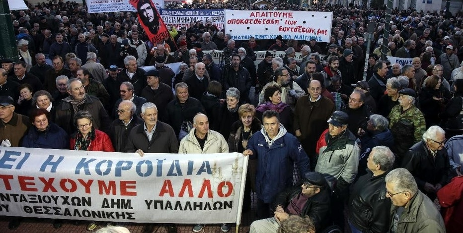 Pensioners take part in an anti-austerity rally in Athens, Thursday, Dec. 15, 2016. About 5,000 Greek pensioners marched peacefully through central Athens Thursday to protest years of cuts to their pensions under the country's bailout commitments. (AP Photo/Yorgos Karahalis)