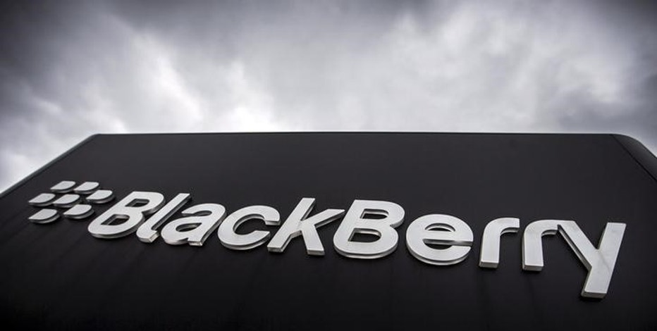 A Blackberry sign is seen in front of their offices on the day of their annual general meeting for shareholders in Waterloo, Canada in this June 23, 2015 file photo.  REUTERS/Mark Blinch/Files