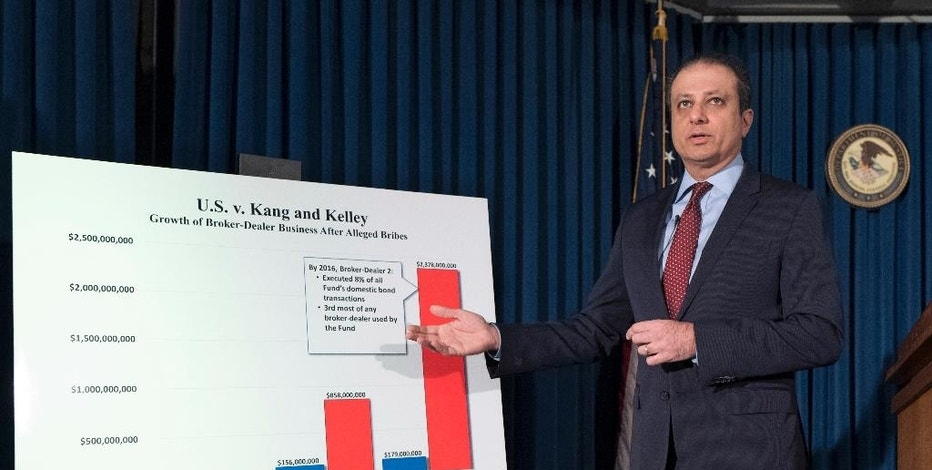 "United States District Attorney Preet Bharara announces charges, Wednesday, Dec. 21, 2016 in New York, against Navnoor Kang, a former portfolio manager at the New York State Common Retirement Fund, and two broker-dealers, Deborah Kelley and Gregg Schonhorn, for participating in a ""pay-for-play"" scheme. The indictment alleges Kang took bribes that included prostitutes, strippers, cocaine, a $17,000 wristwatch, travel, and tickets to Broadway shows, the U.S. Open tennis tournament and a Paul McCartney concert. (AP Photo/Mark Lennihan)"