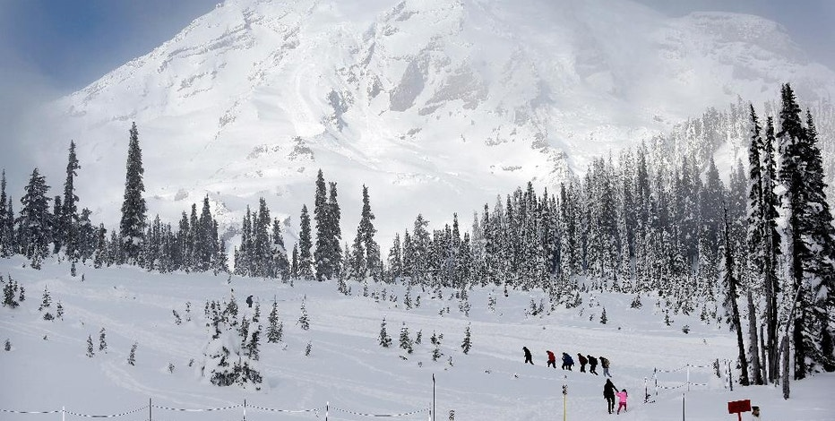 In this photo taken Friday, Dec. 16, 2016, Mount Rainier fills the sky behind as a group of snowshoers head out of the Paradise area for an outing at Mount Rainier National Park, Wash. Spotty or no cellular service has been the norm at the nation's fifth oldest park south of Seattle, but that could change soon. Mount Rainier National Park is considering proposals to provide cellular service in the park, setting off debates about whether people enjoying the park and surrounding wilderness areas should have access to calls and social media while in nature. (AP Photo/Elaine Thompson)